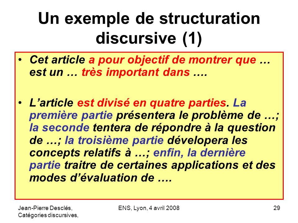 Un exemple de structuration discursive (1)