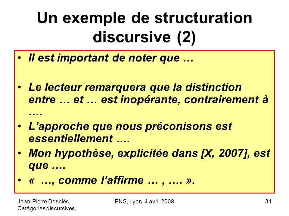 Un exemple de structuration discursive (2)
