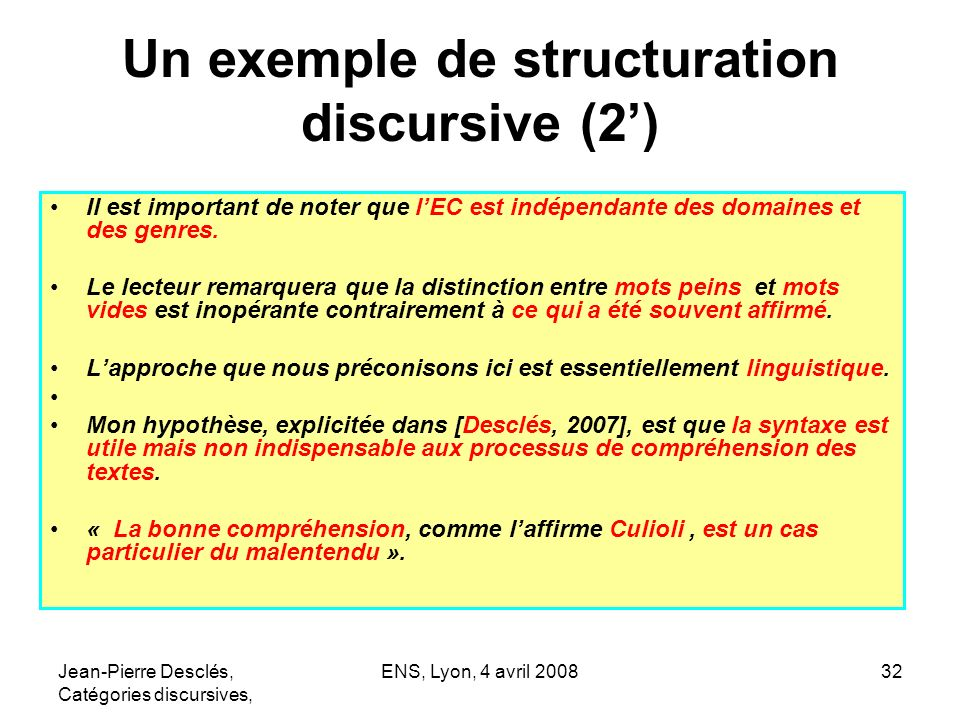 Un exemple de structuration discursive (2')