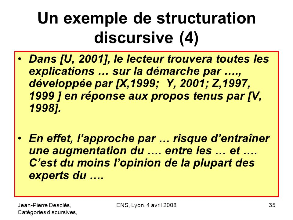 Un exemple de structuration discursive (4)