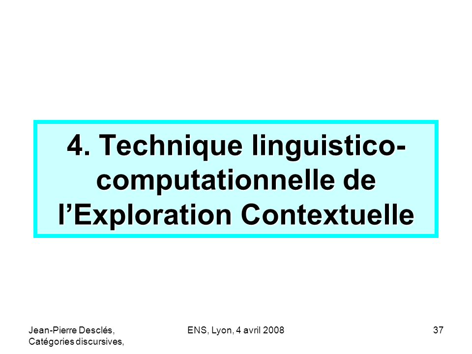 4. Technique linguistico-computationnelle de l'Exploration Contextuelle