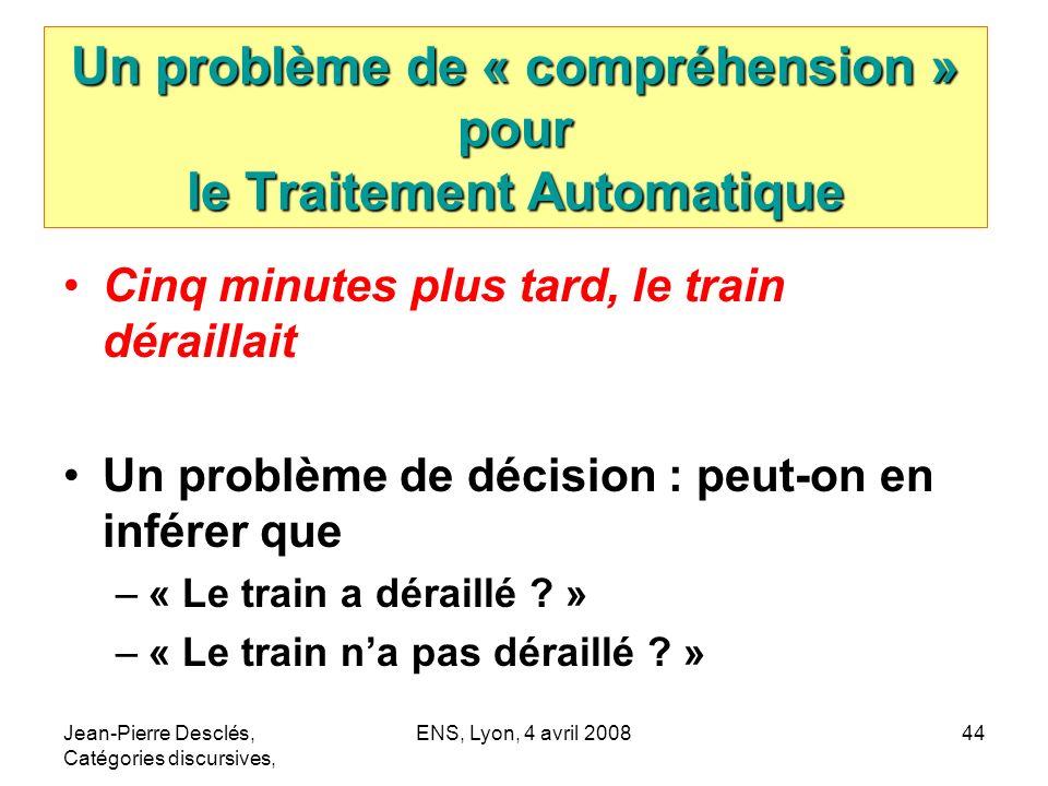 Un problème de « compréhension » pour le Traitement Automatique