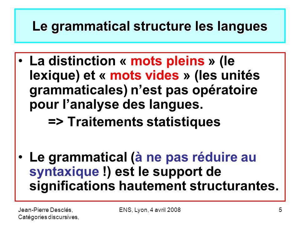 Le grammatical structure les langues