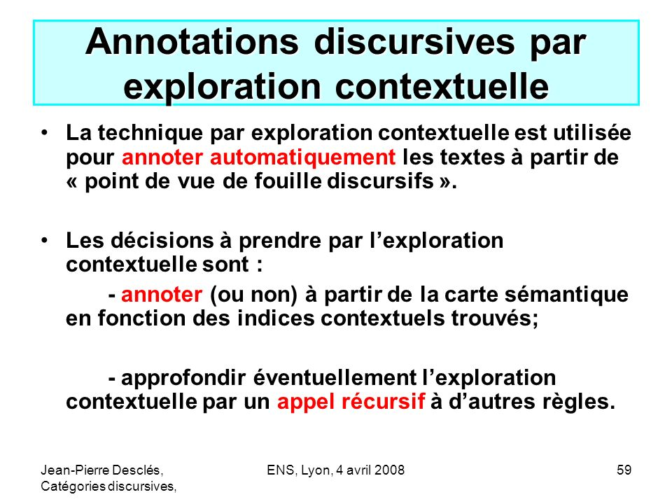 Annotations discursives par exploration contextuelle