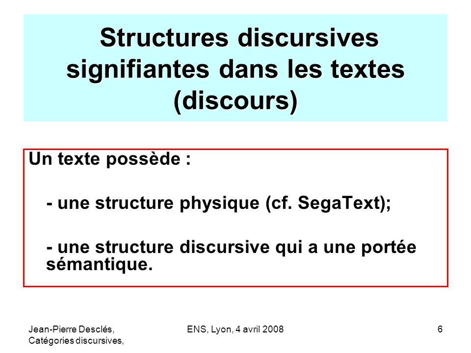 Structures discursives signifiantes dans les textes (discours)