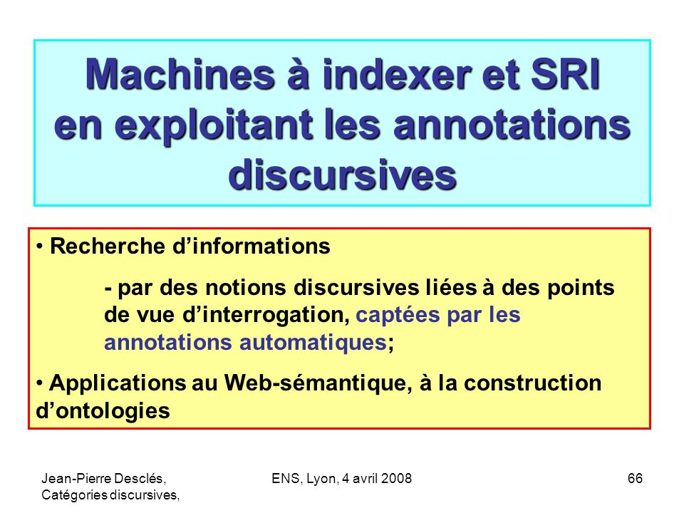 Machines à indexer et SRI en exploitant les annotations discursives