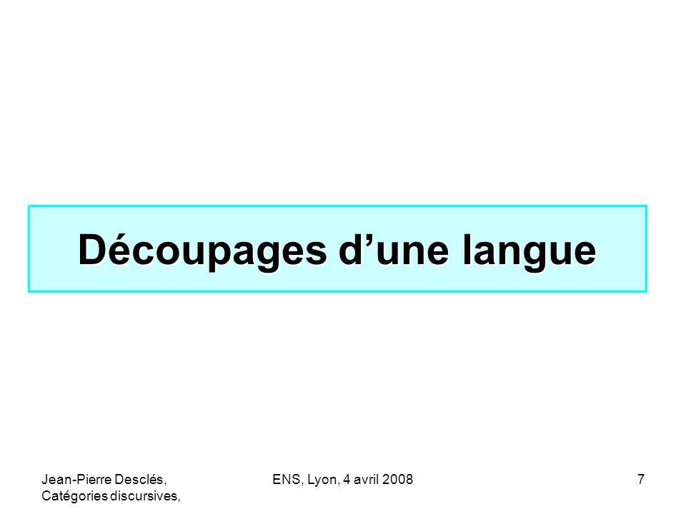 Découpages d'une langue