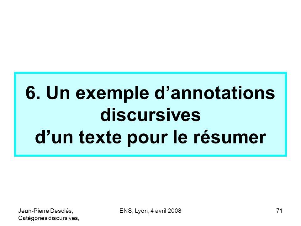 6. Un exemple d'annotations discursives d'un texte pour le résumer