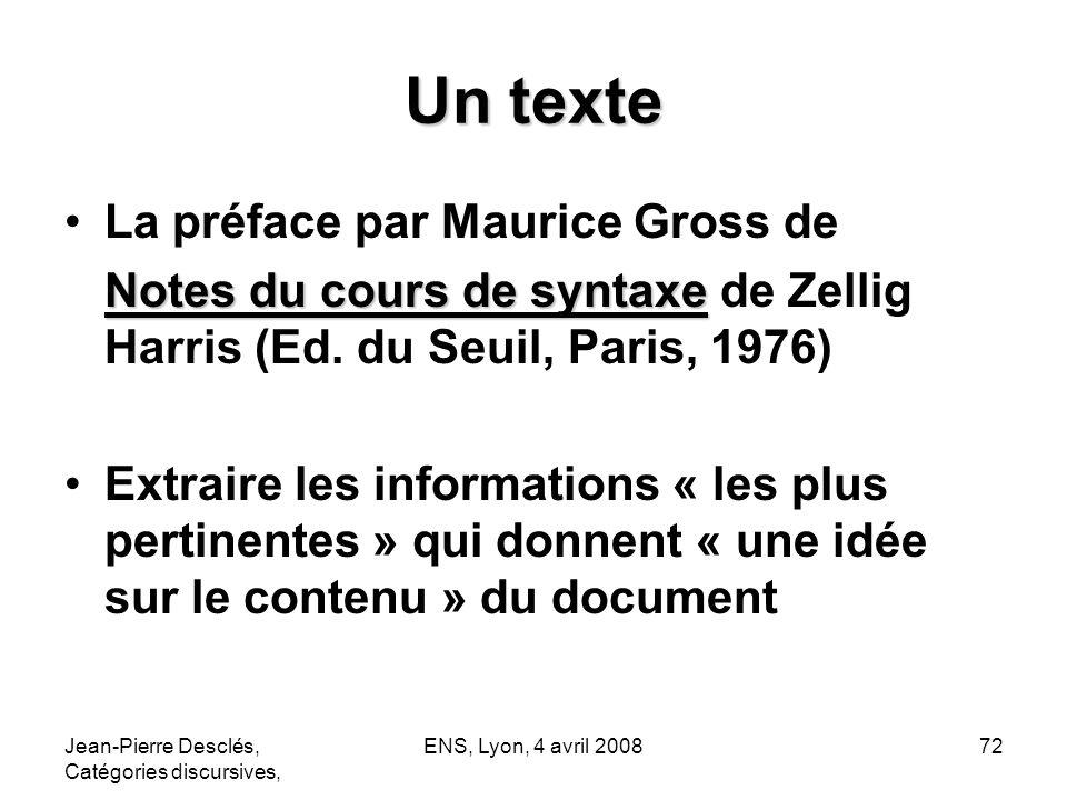 Un texte La préface par Maurice Gross de