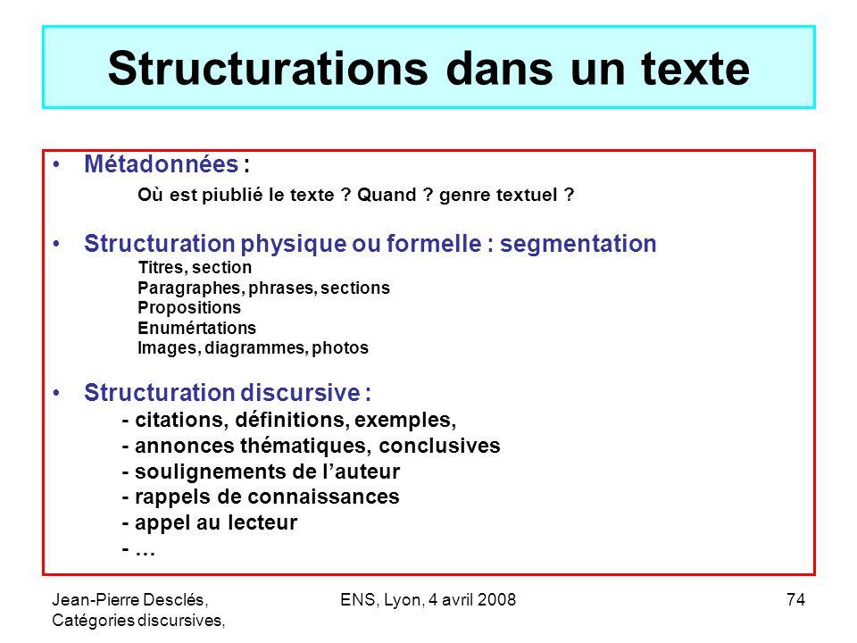 Structurations dans un texte