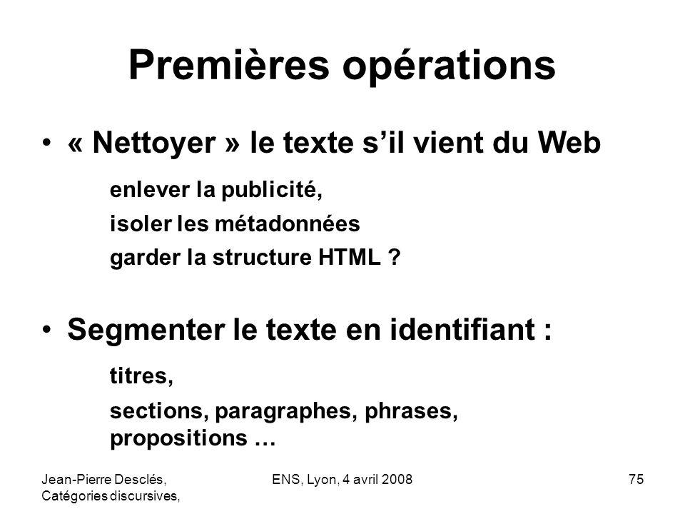 Premières opérations « Nettoyer » le texte s'il vient du Web