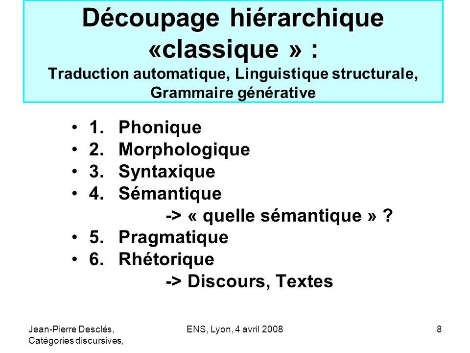 Découpage hiérarchique «classique » : Traduction automatique, Linguistique structurale, Grammaire générative