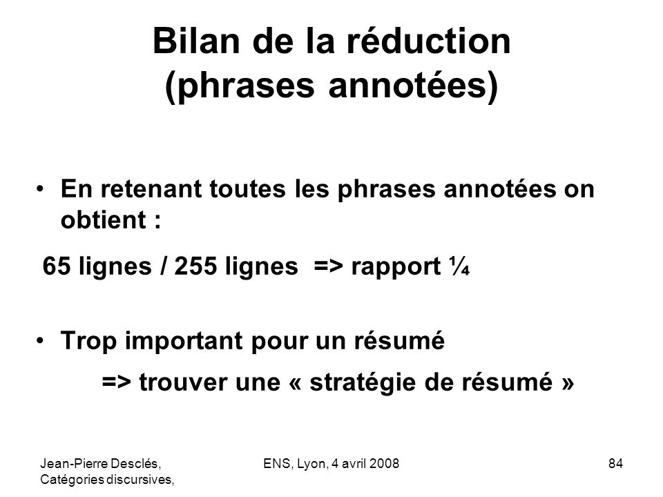 Bilan de la réduction (phrases annotées)