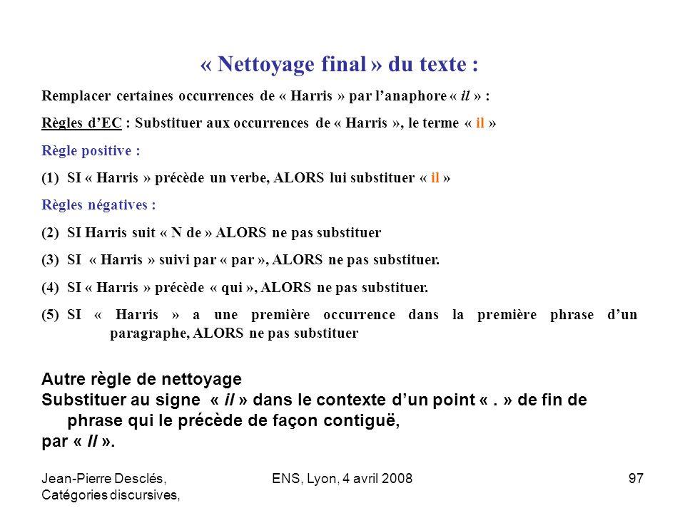« Nettoyage final » du texte :