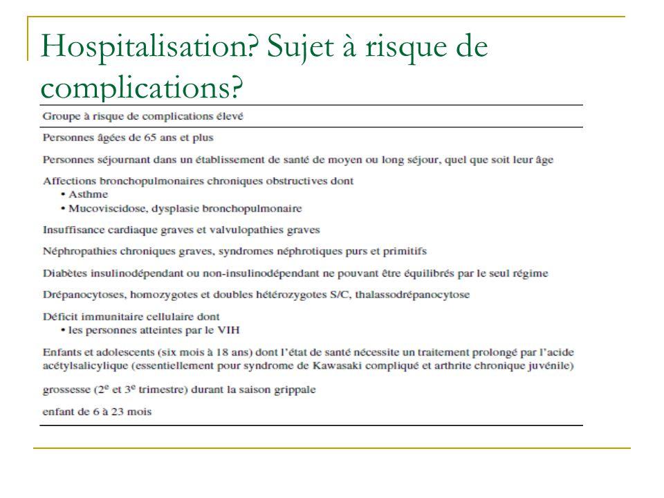 Hospitalisation Sujet à risque de complications