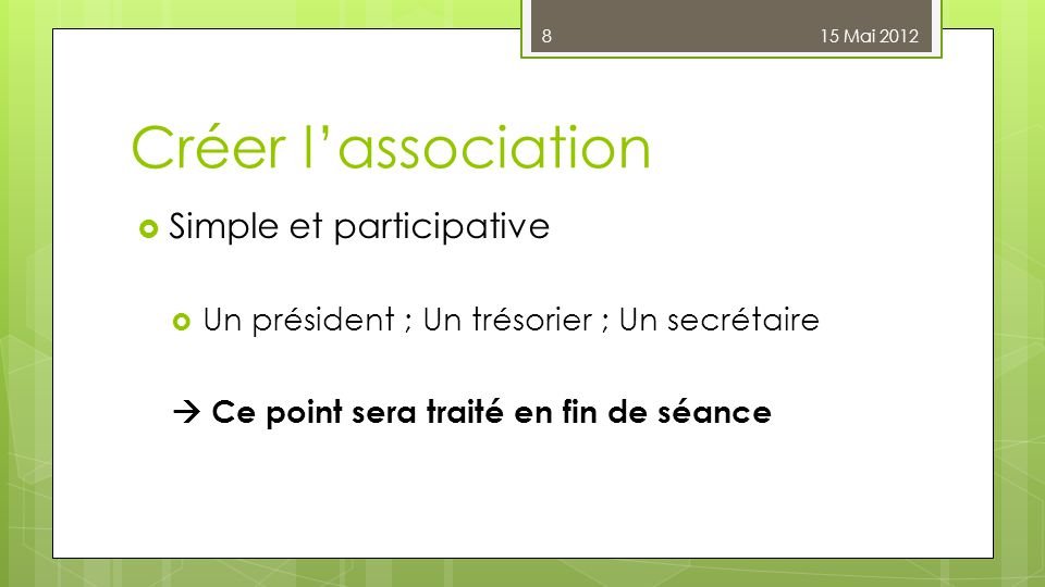 Créer l'association Simple et participative