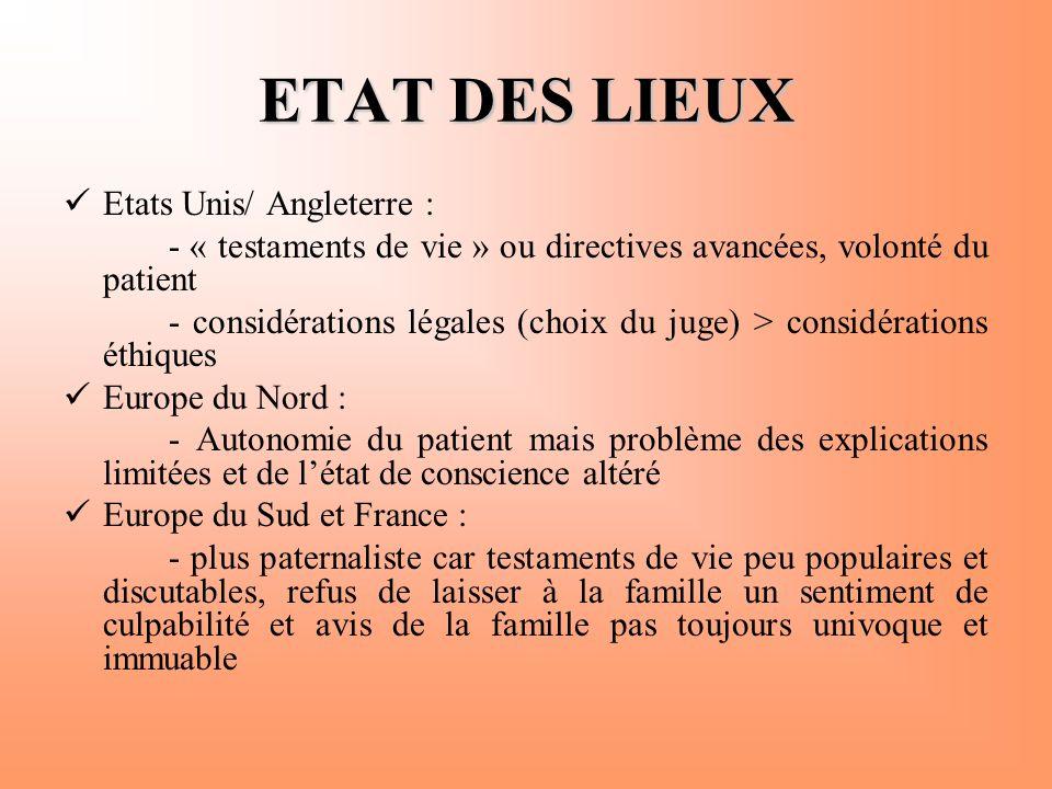 ETAT DES LIEUX Etats Unis/ Angleterre :