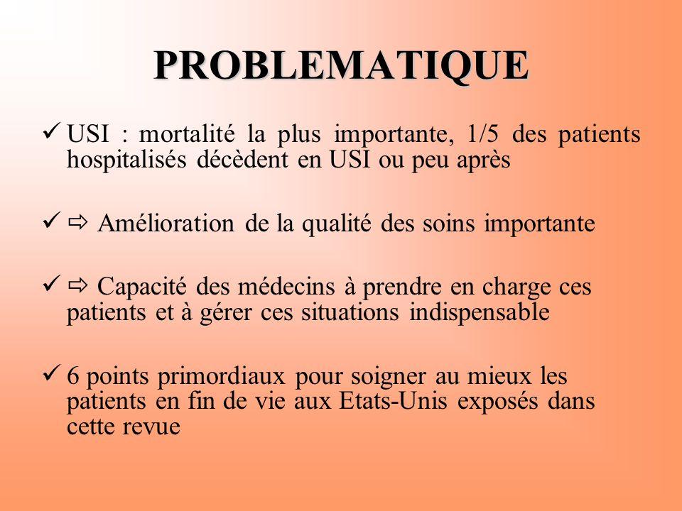 PROBLEMATIQUE USI : mortalité la plus importante, 1/5 des patients hospitalisés décèdent en USI ou peu après.