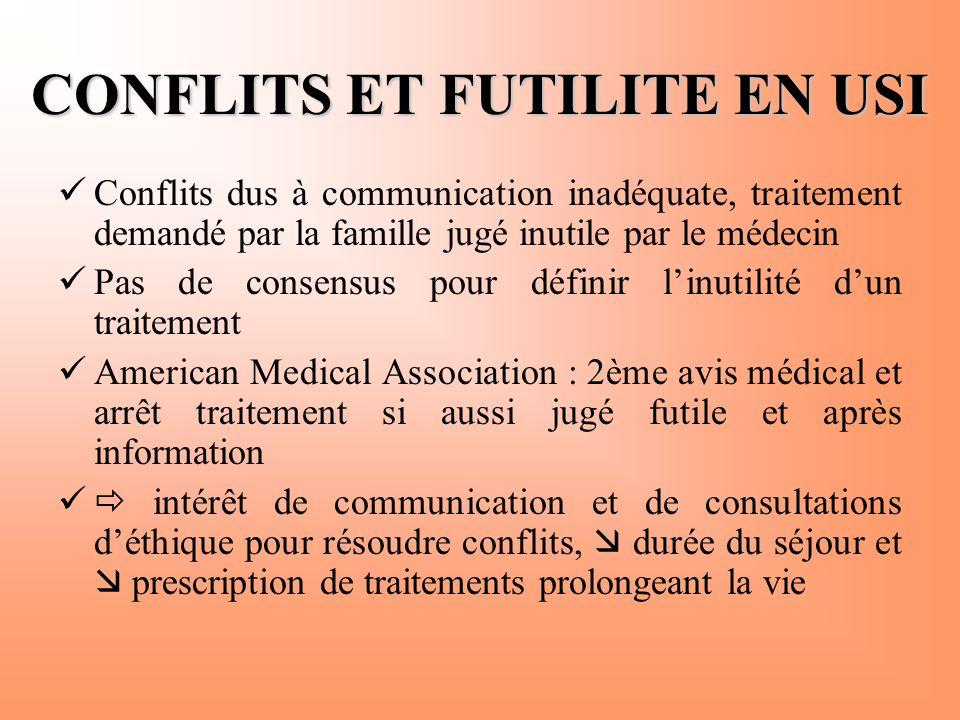 CONFLITS ET FUTILITE EN USI
