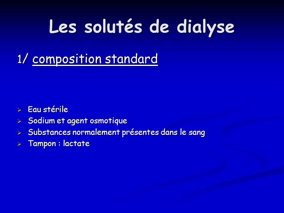 Les solutés de dialyse 1/ composition standard Eau stérile