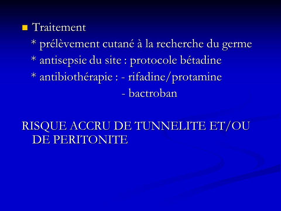 Traitement * prélèvement cutané à la recherche du germe. * antisepsie du site : protocole bétadine.