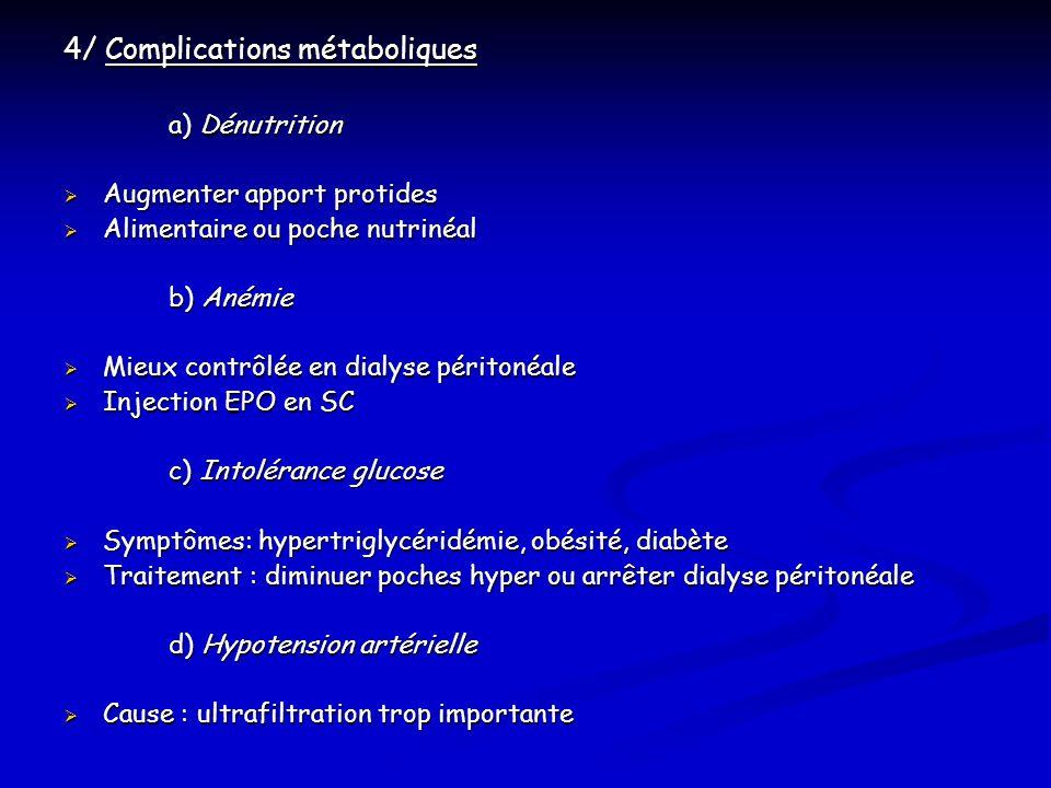 4/ Complications métaboliques