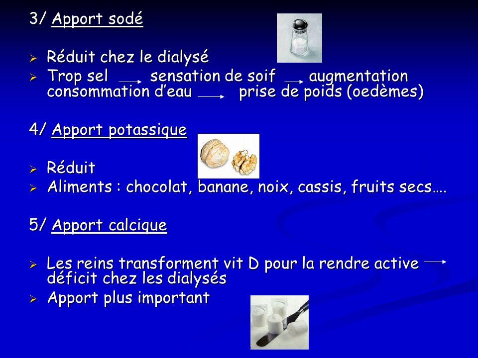 3/ Apport sodé Réduit chez le dialysé. Trop sel sensation de soif augmentation consommation d'eau prise de poids (oedèmes)