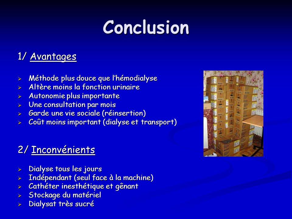 Conclusion 1/ Avantages 2/ Inconvénients