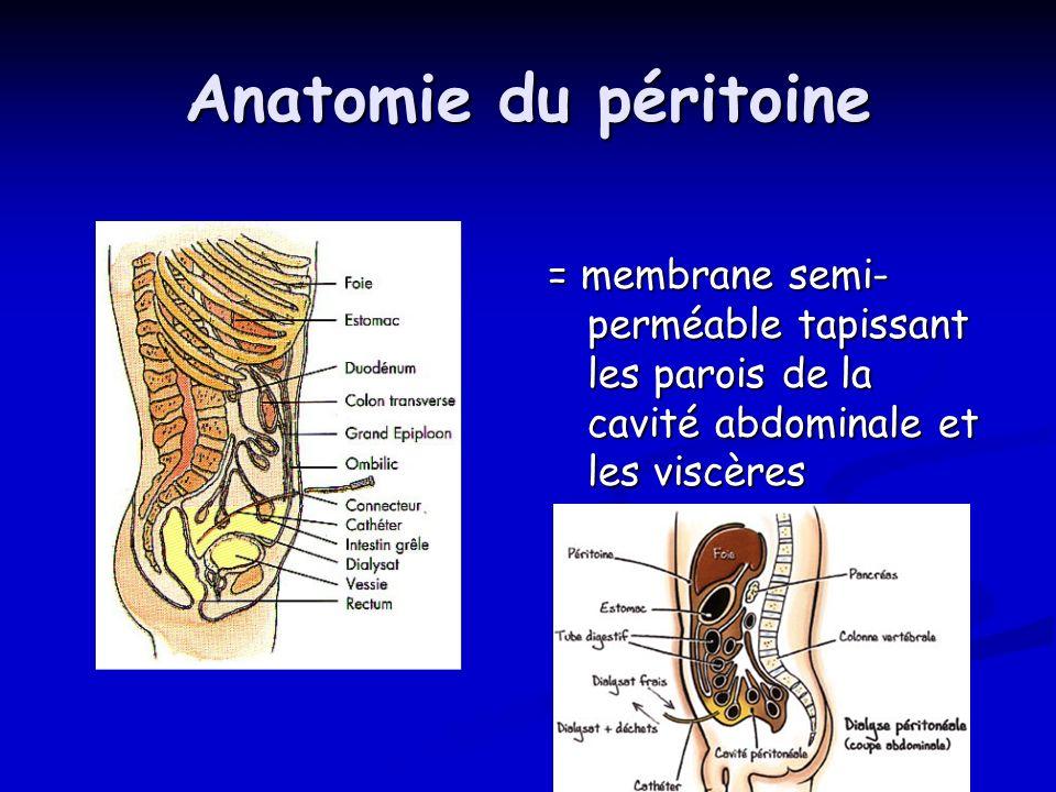 Anatomie du péritoine = membrane semi-perméable tapissant les parois de la cavité abdominale et les viscères.