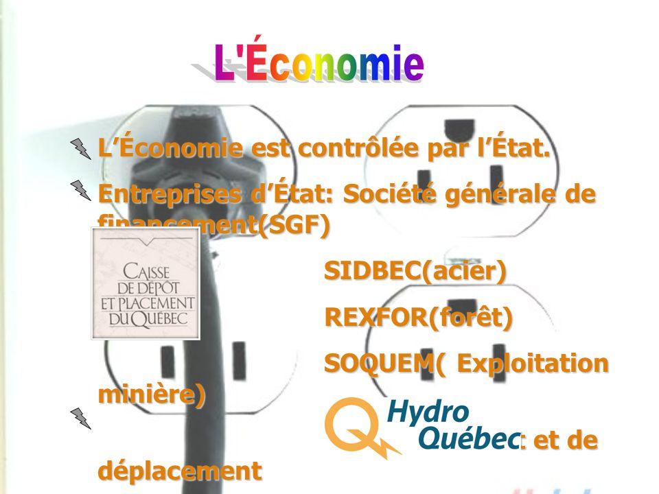 L Économie L'Économie est contrôlée par l'État.