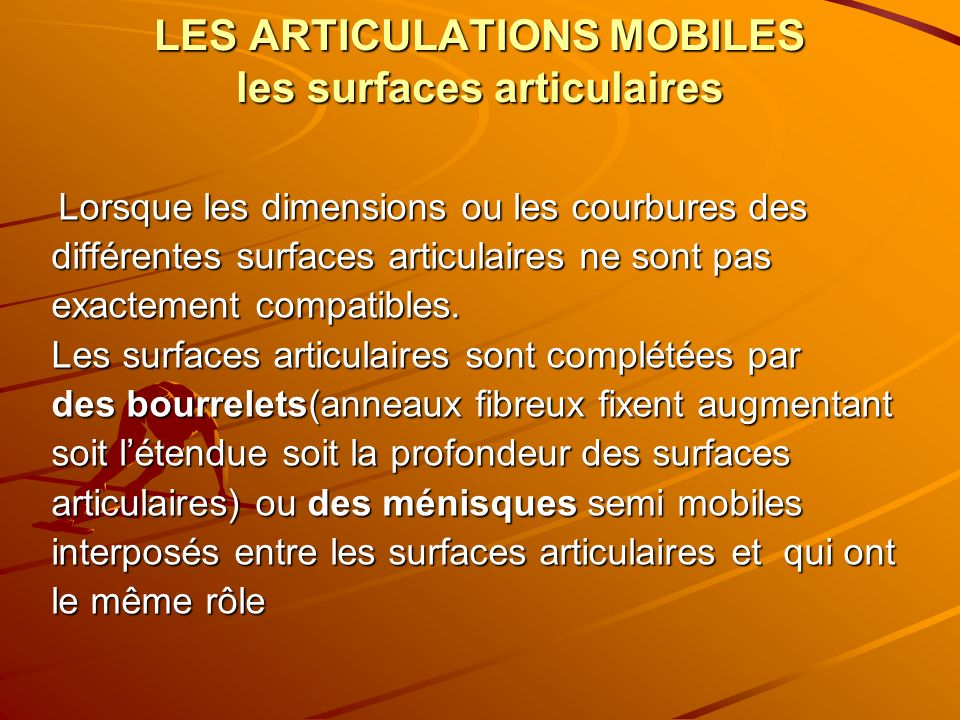 LES ARTICULATIONS MOBILES les surfaces articulaires