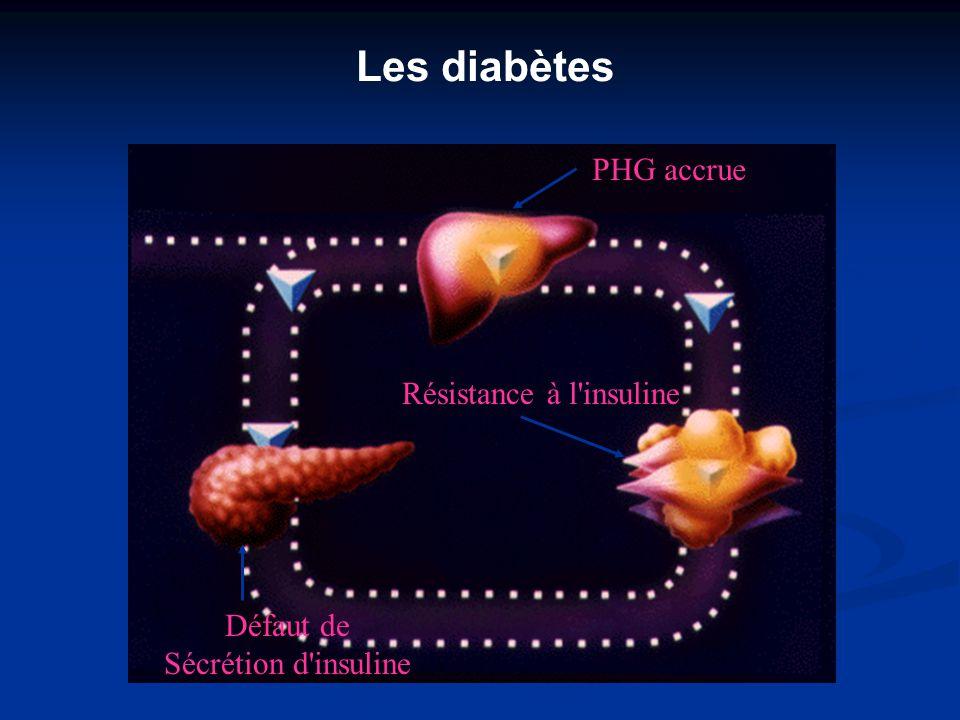 Les diabètes PHG accrue Résistance à l insuline Défaut de