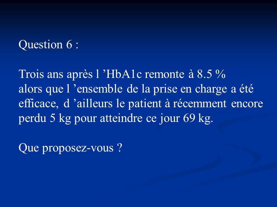 Question 6 : Trois ans après l 'HbA1c remonte à 8.5 %