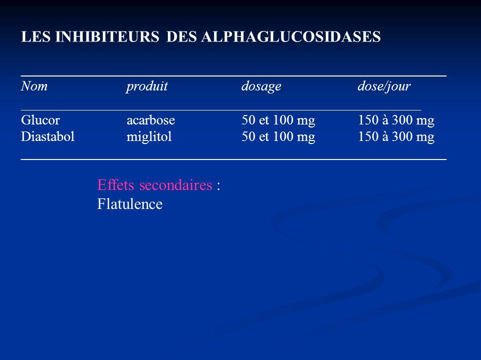 LES INHIBITEURS DES ALPHAGLUCOSIDASES