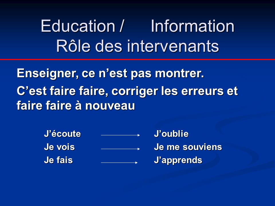 Education / Information Rôle des intervenants