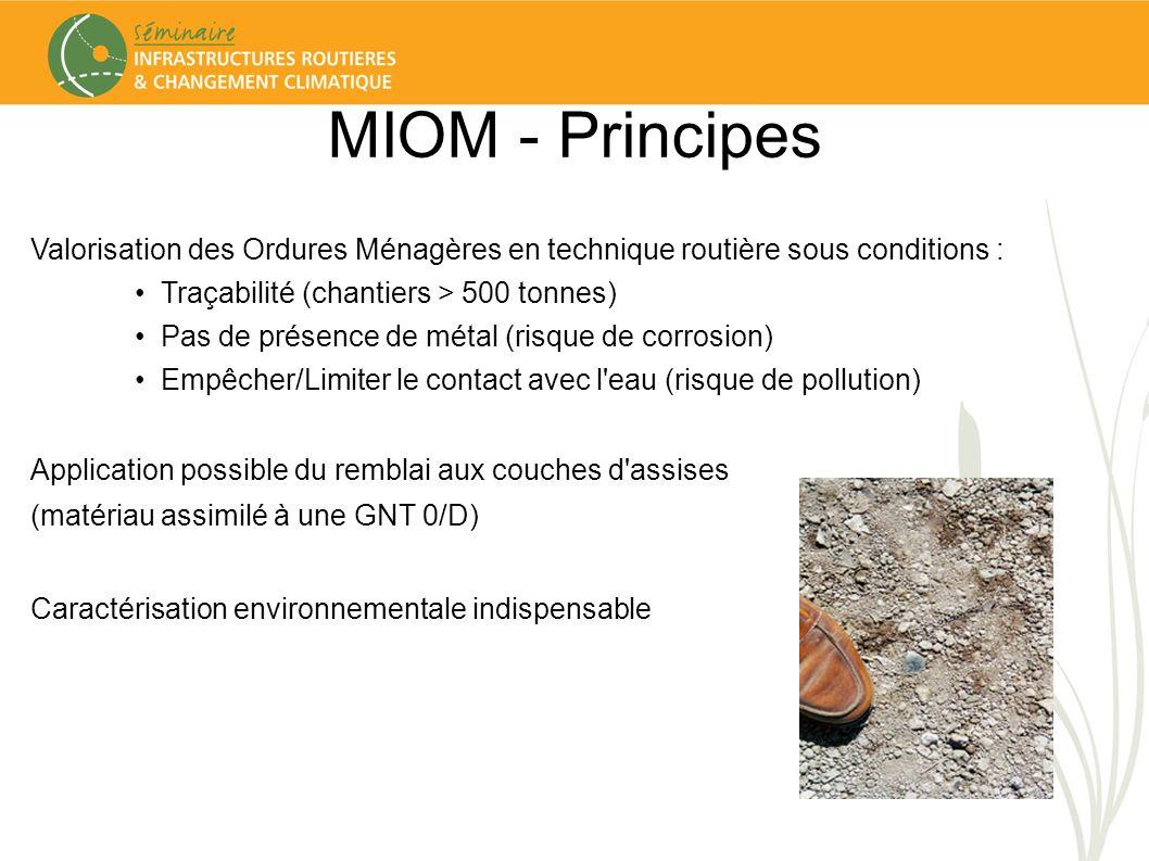 MIOM - Principes Valorisation des Ordures Ménagères en technique routière sous conditions : Traçabilité (chantiers > 500 tonnes)