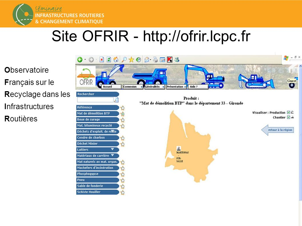 Site OFRIR - http://ofrir.lcpc.fr
