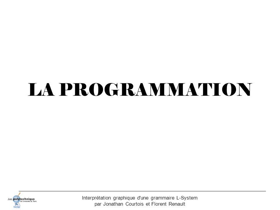 LA PROGRAMMATION Interprétation graphique d une grammaire L-System par Jonathan Courtois et Florent Renault.