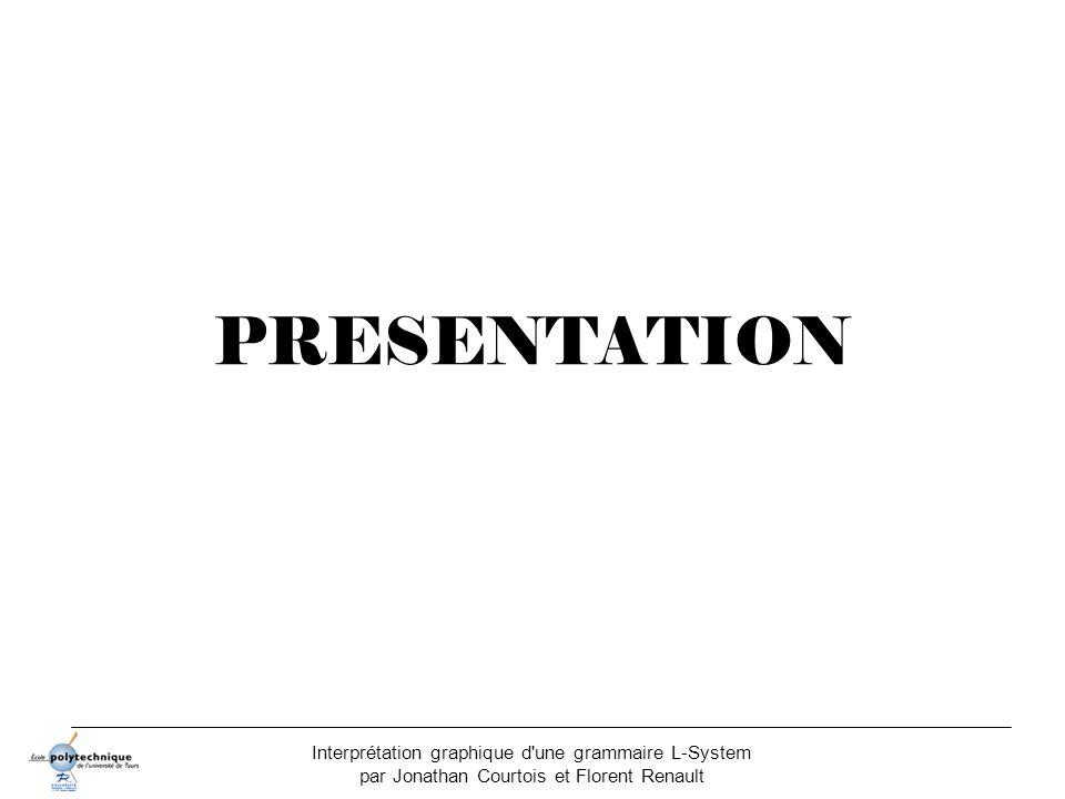 PRESENTATION Interprétation graphique d une grammaire L-System par Jonathan Courtois et Florent Renault.