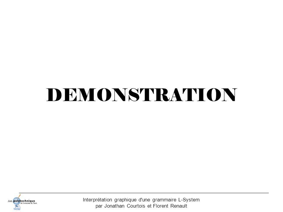 DEMONSTRATION Interprétation graphique d une grammaire L-System par Jonathan Courtois et Florent Renault.