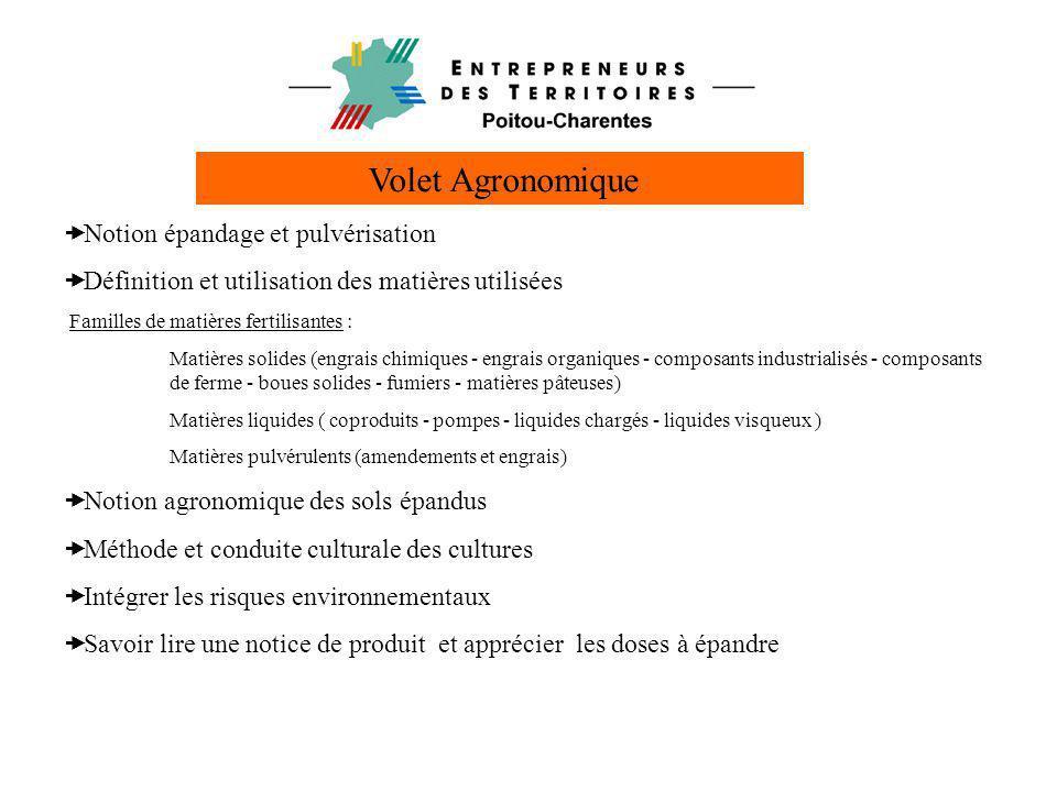 Volet Agronomique Notion épandage et pulvérisation