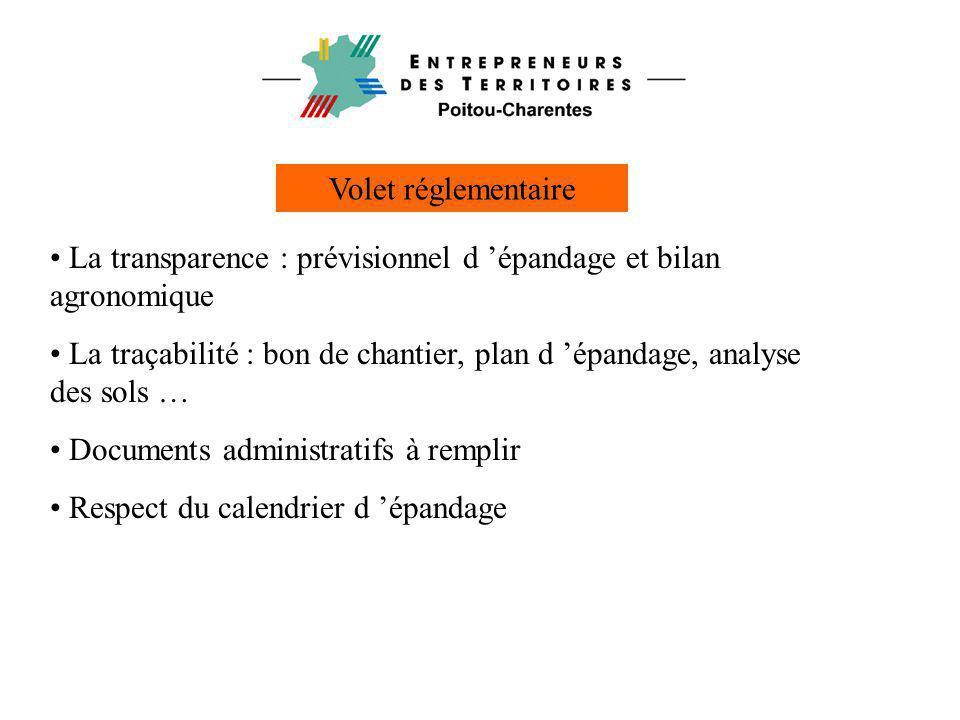 Volet réglementaire La transparence : prévisionnel d 'épandage et bilan agronomique.