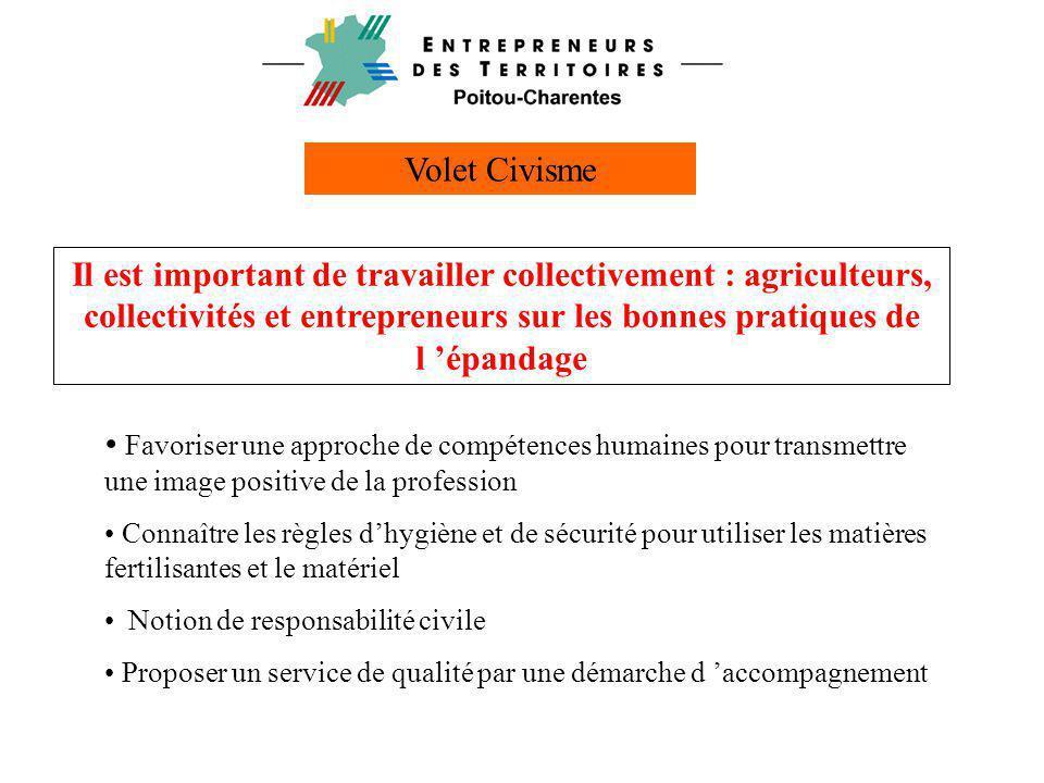 Volet Civisme Il est important de travailler collectivement : agriculteurs, collectivités et entrepreneurs sur les bonnes pratiques de l 'épandage.