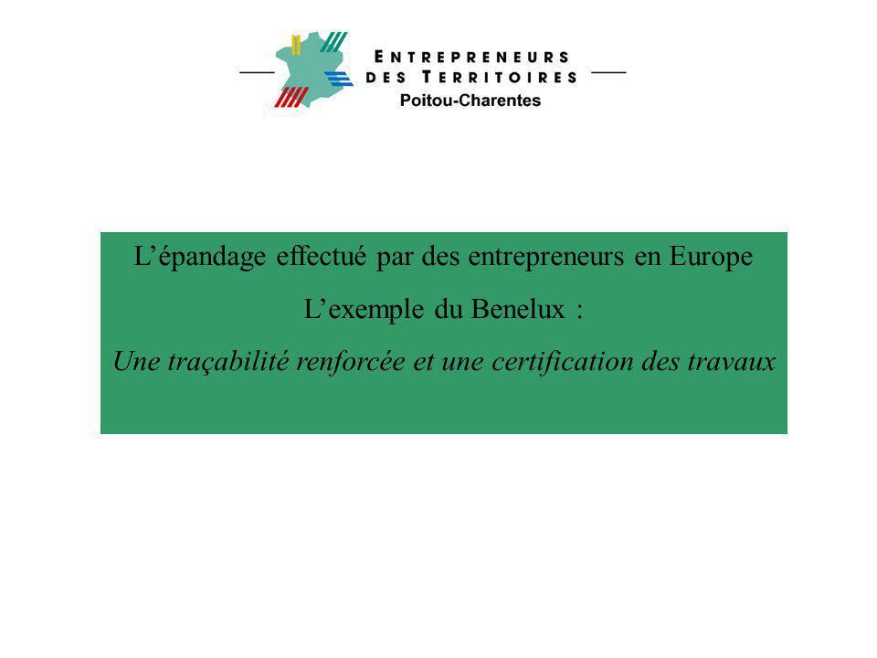 L'épandage effectué par des entrepreneurs en Europe