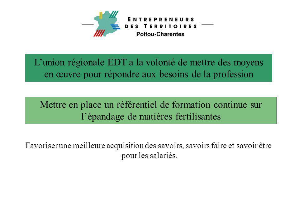 L'union régionale EDT a la volonté de mettre des moyens en œuvre pour répondre aux besoins de la profession