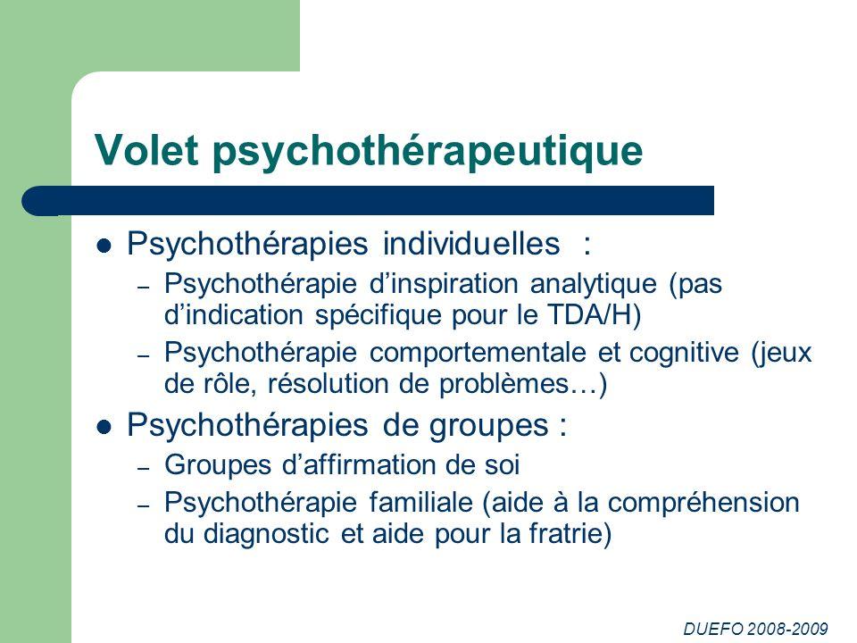 Volet psychothérapeutique