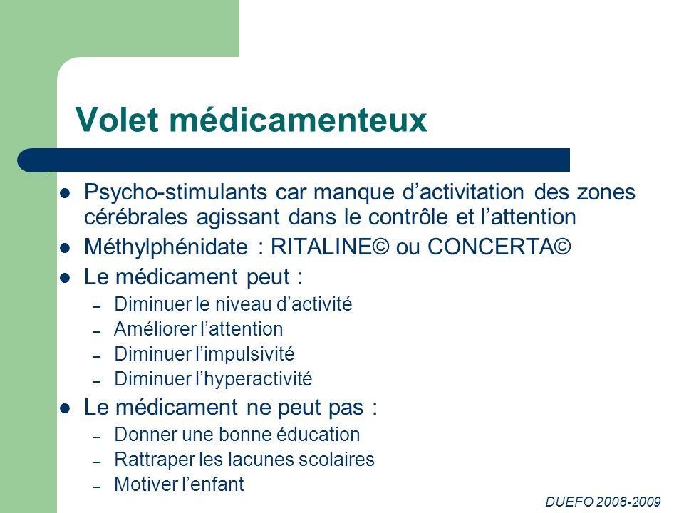 Volet médicamenteux Psycho-stimulants car manque d'activitation des zones cérébrales agissant dans le contrôle et l'attention.