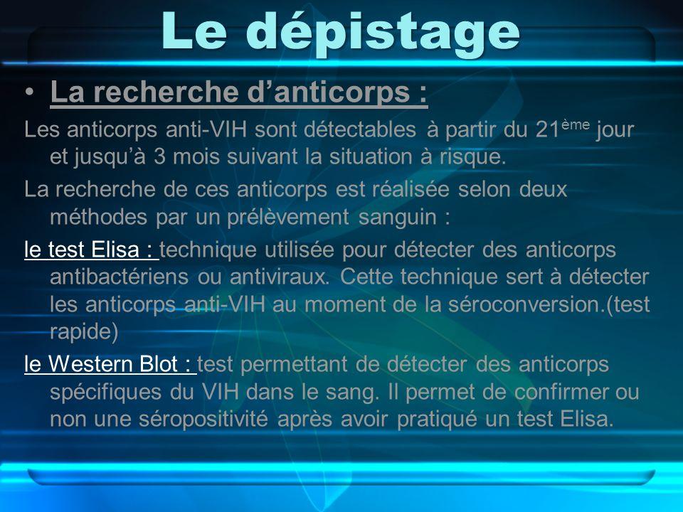Le dépistage La recherche d'anticorps :