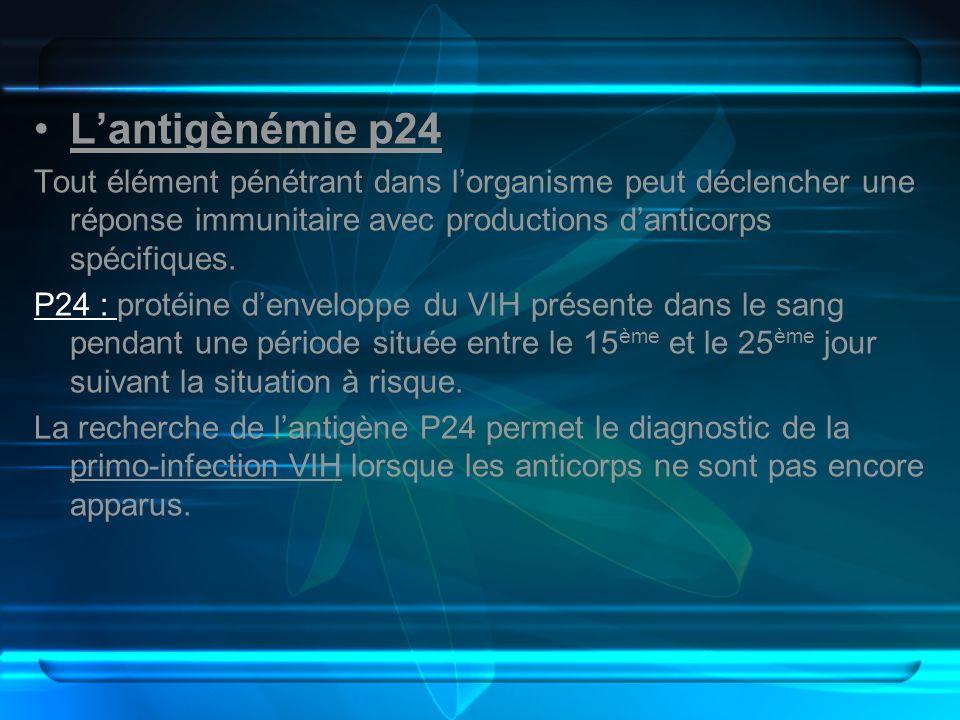 L'antigènémie p24Tout élément pénétrant dans l'organisme peut déclencher une réponse immunitaire avec productions d'anticorps spécifiques.