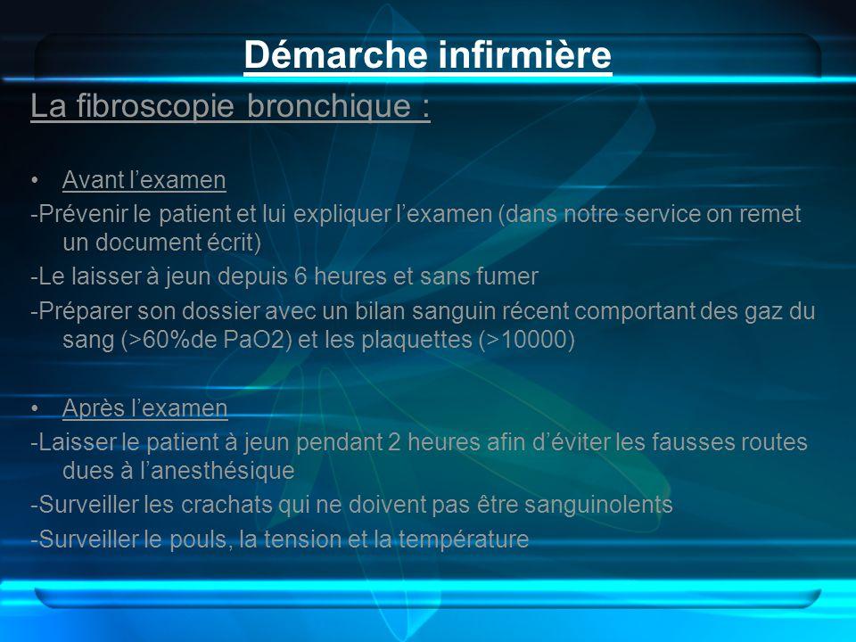 Démarche infirmière La fibroscopie bronchique : Avant l'examen